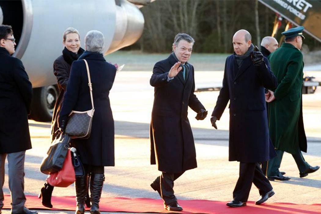Presidente Juan Manuel Santos llegó a Oslo para recibir Nobel de la Paz