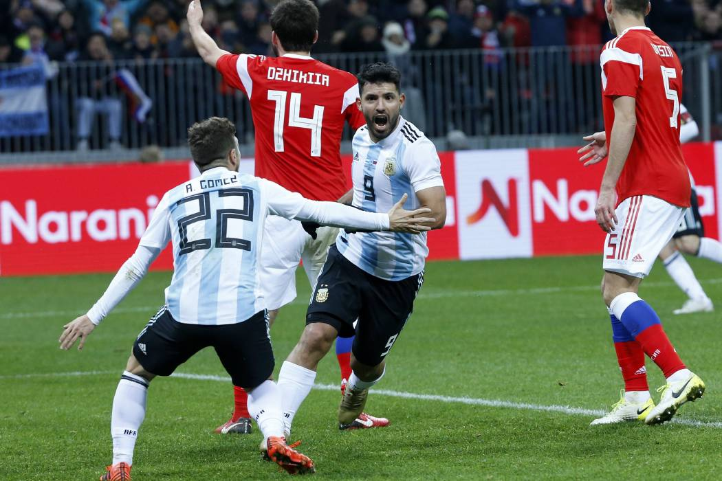 Con gol del 'Kun' Agüero, Argentina le ganó 1-0 a Rusia