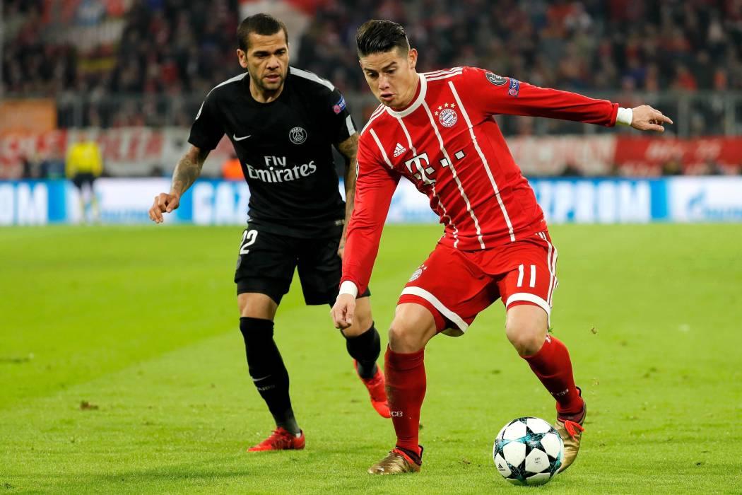 Con James de titular, el Bayern se impuso 3-1 al PSG en la Liga de Campeones