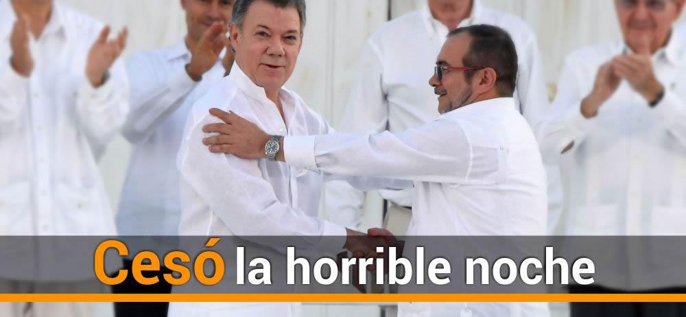 Así terminó su discurso el presidente Juan Manuel Santos, una vez firmó acuerdo final con las Farc