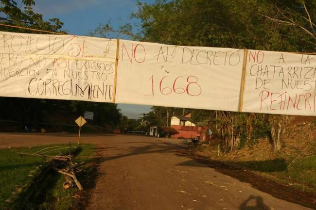 Bloqueos en La Cira a punto de afectar el suministro de aguas