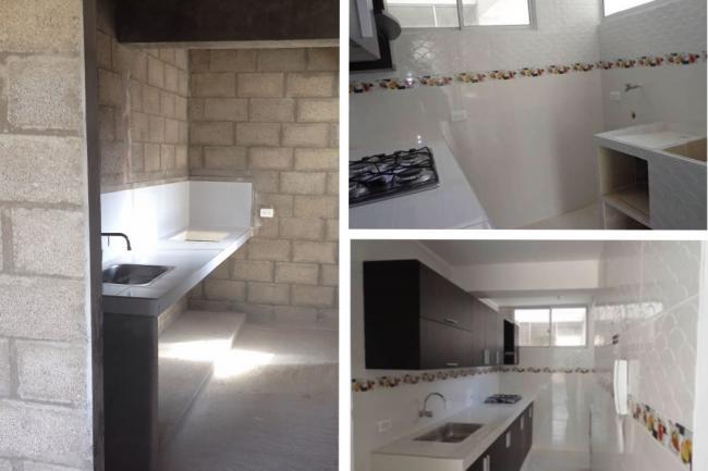 El mismo apartamento antes y después de acabados realizados por el comprador.