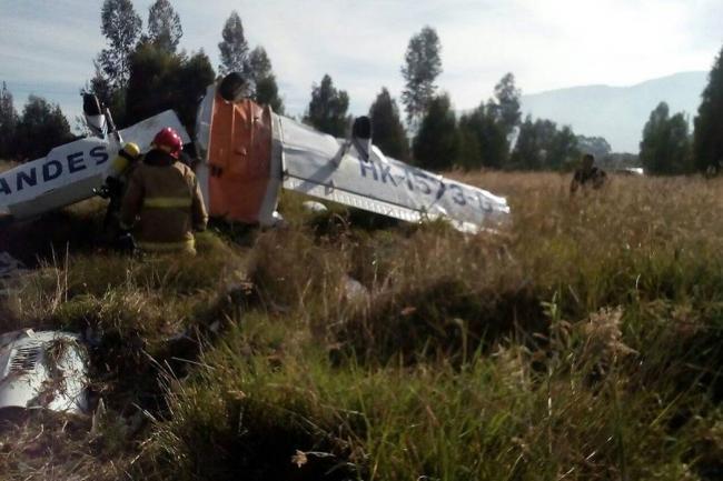Dos muertos por caída de avioneta en Zipaquirá