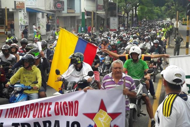 Así trascurrió la protesta de Mototaxistas en Bucaramanga