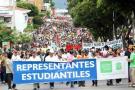 Protesta de los estudiantes de la UIS por la reforma a la educación.