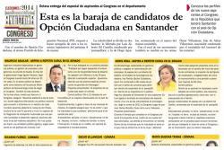 Esta es la baraja de candidatos de Opción Ciudadana en Santander