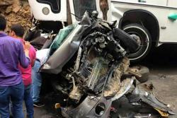 Así fue el accidente que involucró a cinco vehículos en vías de Santander