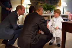 El tierno encuentro entre el príncipe George y Barack Obama