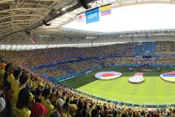 A todo pulmón, hinchas de Colombia entonaron el Himno Nacional