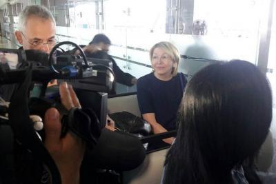 Imagen de la exfiscal de Venezuela, Luisa Ortega, tras su salida de Bogotá.