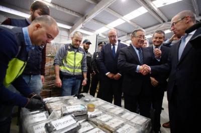 Incautan nueve toneladas de cocaína en España procedente de Colombia