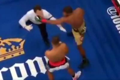 El gancho de izquierda que recibió un árbitro en plena pelea