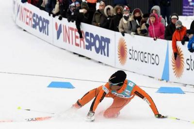 Accidentada presentación de un venezolano que pisó la nieve por primera vez en el Mundial de Esquí