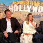 Quentin Tarantino, Margot Robbie, Leonardo DiCaprio y Brad Pitt, director y actores de la película. (Tomada del Twitter de Once Upon a Time in Hollywood).