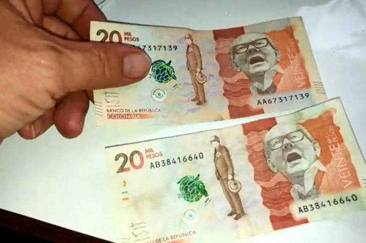 No se deje estafar, aprenda a diferenciar los billetes falsos de $20.000 (Foto: Captura de video /VANGUARDIA LIBERAL)