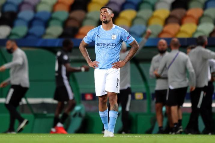Lisbon (Portugal), 15/08/2020.- Gabriel Jesus of Manchester City reacts during the UEFA Champions League quarter final match between Manchester City and Olympique Lyon in Lisbon, Portugal 15 August 2020. (Liga de Campeones, Lisboa) EFE/EPA/Miguel A. Lopes / POOL