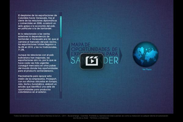 Mapa de exportaciones de Santander