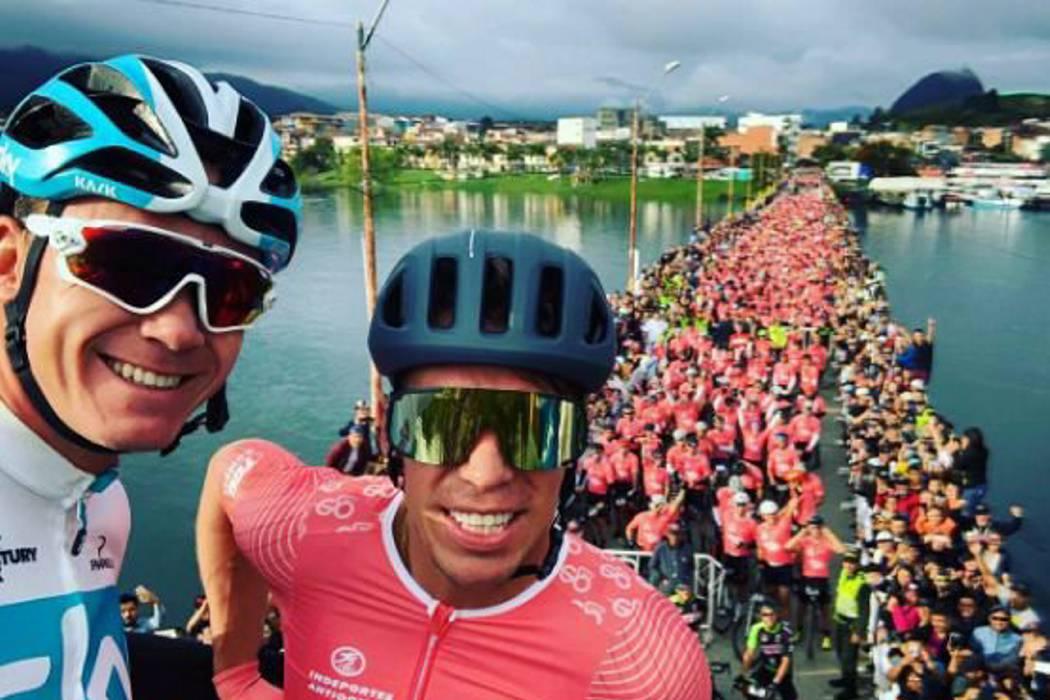 Multitudinario recibimiento por cuenta de Froome y Giro de Rigo en Guatapé