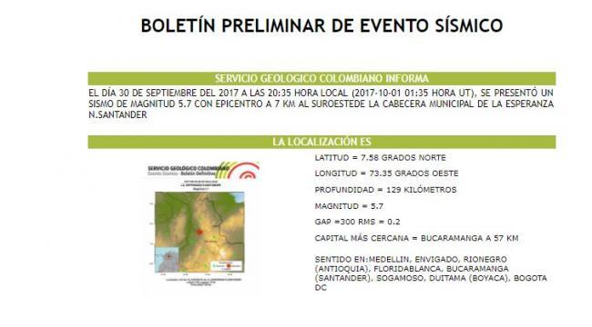 Temblor de 5.7 en Colombia se sintió en Venezuela