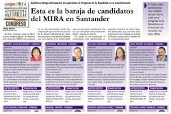 Esta es la baraja de candidatos del MIRA en Santander