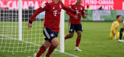 James Rodríguez anotó ayer el tercer gol en la victoria del Bayern Múnich ante Wolfsburgo, en la Bundesliga, torneo en el suma tres goles en la presente campaña con el once bávaro.